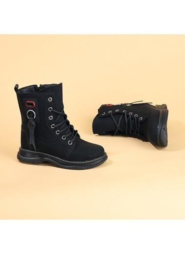 Kiko Kids Kiko TWG 7055 Kışlık ıçi Termal Kürklü Kız Çocuk Bot Ayakkabı Siyah